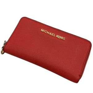 Michael Kors Leather Zip Around Wallet Bright Red